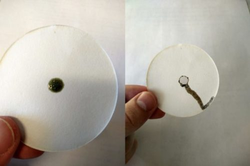 Хромовая смесь прожигает бумагу